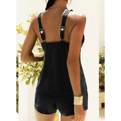 Solid Color Push Up Strap U-Neck Vintage Plus Size Tankinis Swimsuits