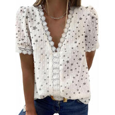Print Lace V-Neck Short Sleeves Casual Elegant Blouses