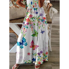 Floral/Animal Print Sleeveless A-line Skater Casual/Vacation Maxi Dresses