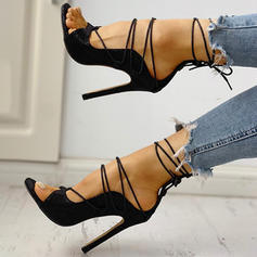 Women's PU Stiletto Heel Sandals Peep Toe With Lace-up shoes