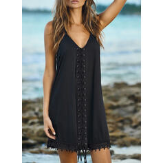 Lace/Solid Sleeveless Shift Above Knee Little Black/Casual/Vacation Dresses