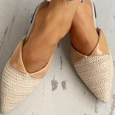 Frauen Stoff Flascher Absatz Sandalen Geschlossene Zehe Pantoffel Schuhe