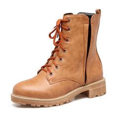 Femmes Similicuir Talon bas Bottes Bottes mi-mollets Martin bottes avec Zip Dentelle chaussures