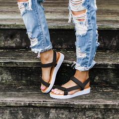 Mulheres PU Sem salto Sandálias Peep toe com Velcro sapatos