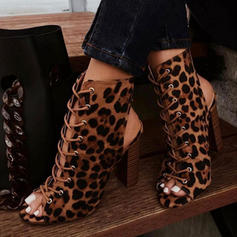 Women's PU Chunky Heel Pumps Boots Peep Toe With Animal Print Lace-up shoes