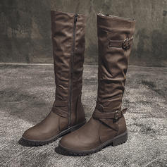 Women's PU Low Heel Knee High Boots With Buckle shoes