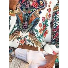 baskı Çiçekli Düşük Omuzlu Uzun kollu Günlük Blúzok