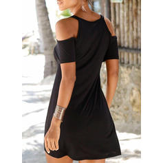 Solid Short Sleeves A-line Above Knee Little Black/Vacation Dresses