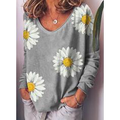 Print Floral V-Neck Long Sleeves Casual T-shirts