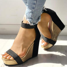婦人向け ファブリック ウエッジヒール サンダル ポンプ とともに バックル 靴