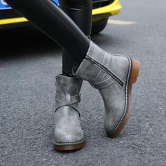 Femmes PU Talon plat Chaussures plates Bout fermé Bottes avec Zip chaussures