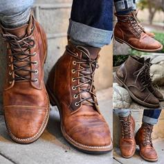 Női PU Alacsony sarok Csizma -Val Lace-up cipő