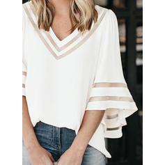 Solide V-hals 3/4 Mouwen Casual t-shirt