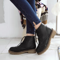 Women's PU Low Heel Boots Ankle Boots Martin Boots With Lace-up shoes