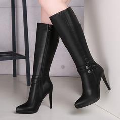 Leatherette Stiletto Heel Knee High Boots With Zipper shoes