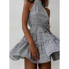 Print Sleeveless A-line Above Knee Casual Skater Dresses