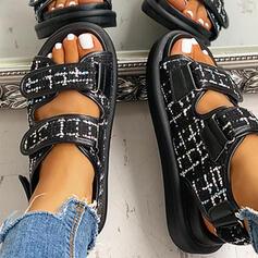 Women's Fabric Flat Heel Sandals Peep Toe With Velcro shoes