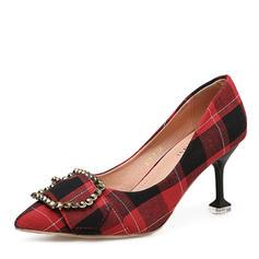 Femmes Tissu Talon bobine Escarpins Bout fermé avec Boucle chaussures