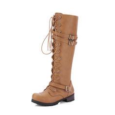 Femmes PU Talon bottier Escarpins Bottes Bottes hautes avec Boucle Zip Dentelle chaussures