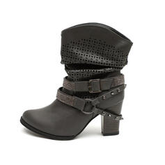 Women's PU Chunky Heel Mid-Calf Boots Pointed Toe With Rhinestone Rivet Buckle shoes