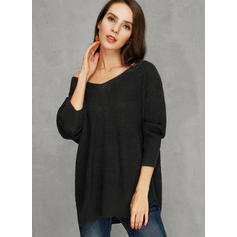 Solid Chunky knit V-Neck Casual Loose Sweater Dress