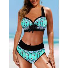 Cintura Alta Impresión Bowknot Correa Sexy Boho Bikinis Trajes de baño