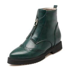 Femmes PU Talon bottier Bout fermé Bottes Bottines avec Zip chaussures