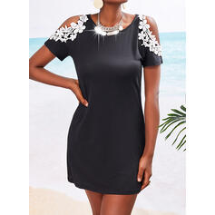 Lace Short Sleeves Sheath Above Knee Casual Dresses