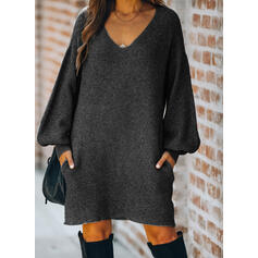 Solid Long Sleeves/Lantern Sleeve Shift Knee Length Little Black/Casual Sweater Dresses