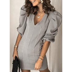 Solid 1/2 Sleeves/Puff Sleeves Bodycon Above Knee Casual/Elegant Dresses