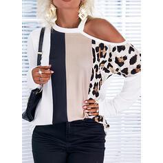 Print Color Block Leopard One Shoulder Long Sleeves Casual Blouses