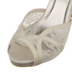 Frauen Spitze Satin Stöckel Absatz Peep-Toe Sandalen