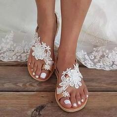 Низька підошва Сандалі Низька підошва Кільце ніг з Квітка Суцільний колір взуття