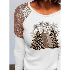 Print Sequins Leopard Round Neck Long Sleeves Casual Christmas Blouses