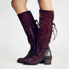 Femmes PU Talon bottier Bottes hautes avec Zip Dentelle chaussures