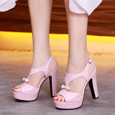 Women's Leatherette Chunky Heel Sandals Pumps Platform Peep Toe With Buckle Others shoes
