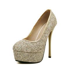 Women's Leatherette Sparkling Glitter Stiletto Heel Closed Toe Platform Pumps With Sparkling Glitter