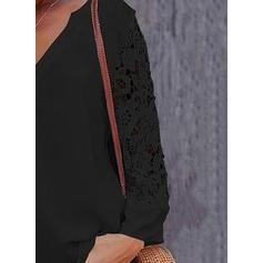 Μονόχρωμο Δαντέλα V-λαιμός Μακρυμάνικο Καθημερινό Елегантне Блузки