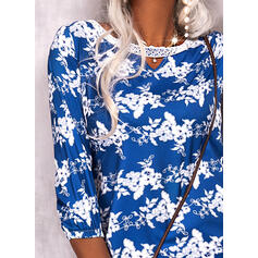Print/Floral Lace 3/4 Sleeves Shift Above Knee Casual Tunic Dresses