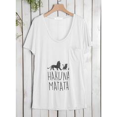 Imprimé Animal Col V Manches Courtes Décontractée Tricotage T-shirts