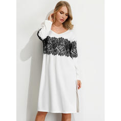Lace Long Sleeves Shift Knee Length Casual Tunic Dresses
