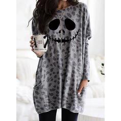 Print Leopard Halloween Lommer rund hals Lange ærmer Sweatshirts