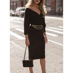 Solid Long Sleeves Bodycon Knee Length Little Black/Casual/Elegant Pencil Dresses
