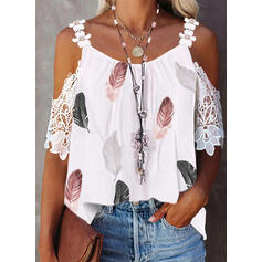 Print Floral Feather Lace Cold Shoulder 1/2 Sleeves Elegant Blouses