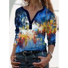Imprimeu Decolteu în V Mâneci Lungi Tişörtler