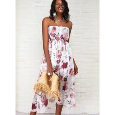 Print/Floral Sleeveless A-line Asymmetrical Casual Skater Dresses