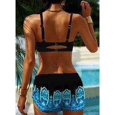 Splice kleur Riem V-hals Grote maat Boho Bikini's Badpakken