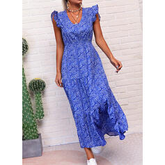 Print/Floral Sleeveless A-line Skater Casual/Elegant Maxi Dresses