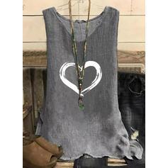 Corazón Impresión Cuello en V Sin mangas Camisetas sin mangas