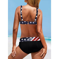 Flag Star Strap Round Neck Vintage Plus Size Bikinis Swimsuits